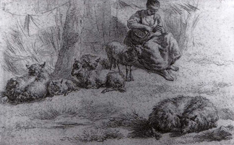 Seated Woman With A Basket And Livestock