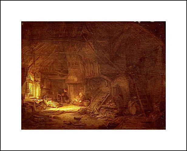 Cottage Interior With A Family Around The Hearth