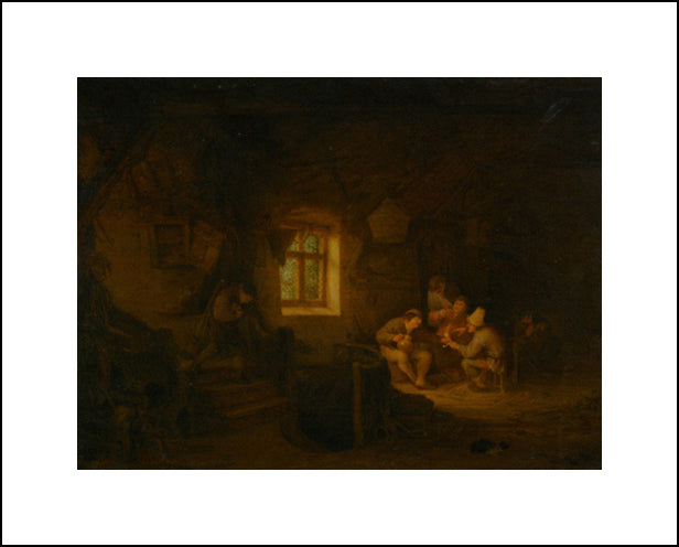 A Tavern Interior With Peasants Drinking Beneath A Window