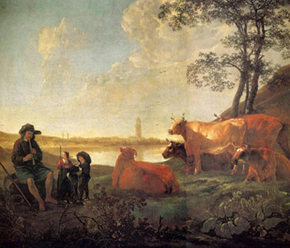 Landscape With Shepherds And Flock, Near Rhenen