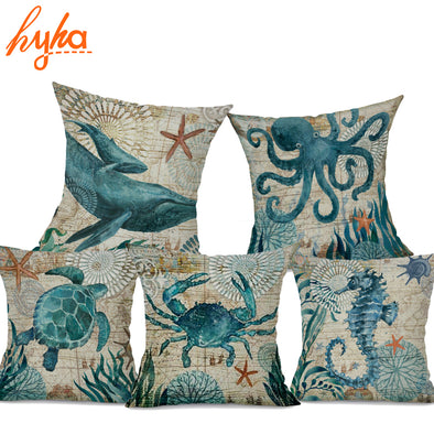 Sea & Ocean Life Decor Throw Pillow - Ocean Club Co