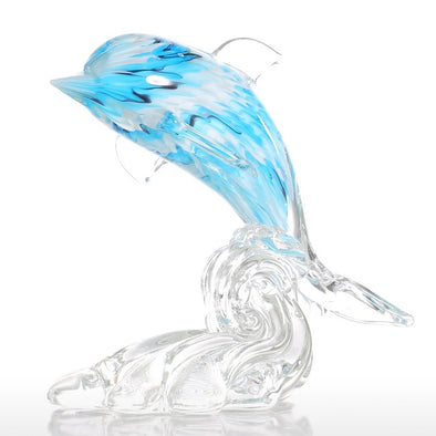 Ornamental Glass Blue Dolphin Figurine - Ocean Club Co