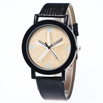 Starfish Leather Band Analog Quartz Watch - Ocean Club Co
