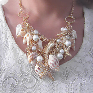 Starfish Seashell Pearl Statement Necklace