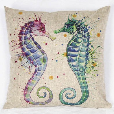 Double Seahorse Throw Pillow - Ocean Club Co