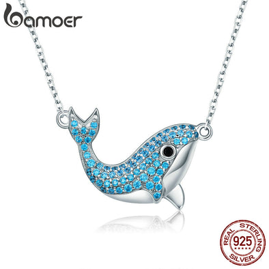 925 Sterling Silver Blue Whale Crystal Pendant Necklace - Ocean Club Co