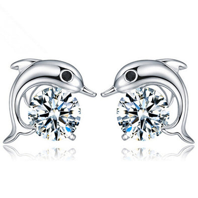 Silver Crystal Dolphin Stud Earrings - Ocean Club Co