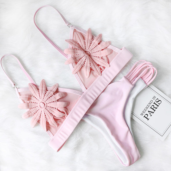 Sexy Mesh Flower Strappy Bikini - Ocean Club Co