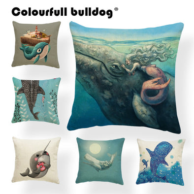 Mermaid Whale Narwhal Throw Pillow Cushion Cover - Ocean Club Co