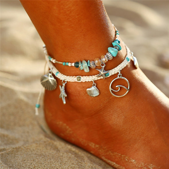 Bohemian Starfish Shell Stone Anklet - Ocean Club Co