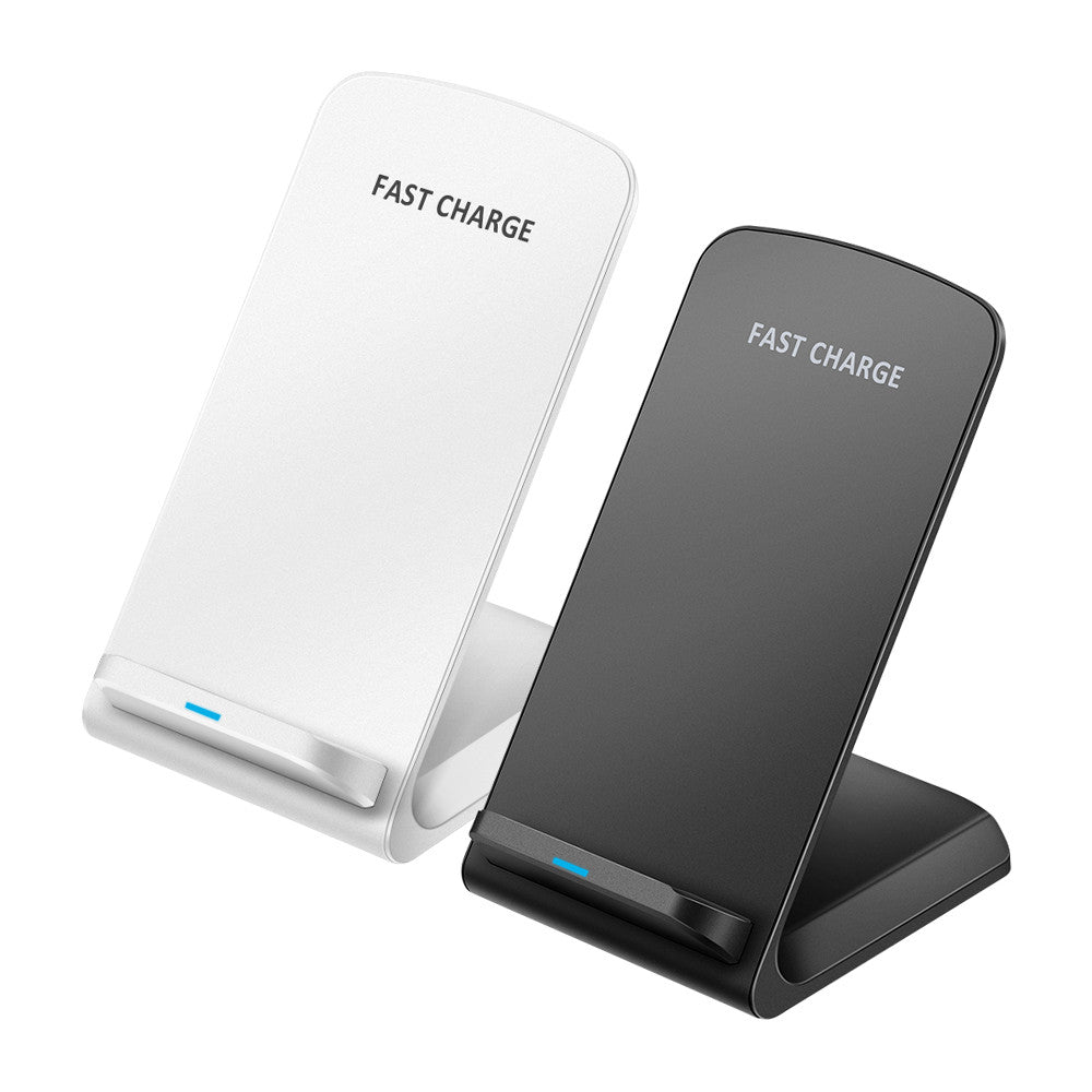2-coil Wireless Charger Stand Qi-Enabled Devices 10W Non-slip Fast Charging Dock Intelligent Identification for iPhone Android Phones