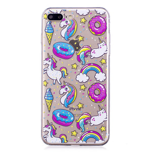 Phone Cover Transparent TPU Case Doughnut and Unicorn Pattern Soft Protector Shell for iPhone