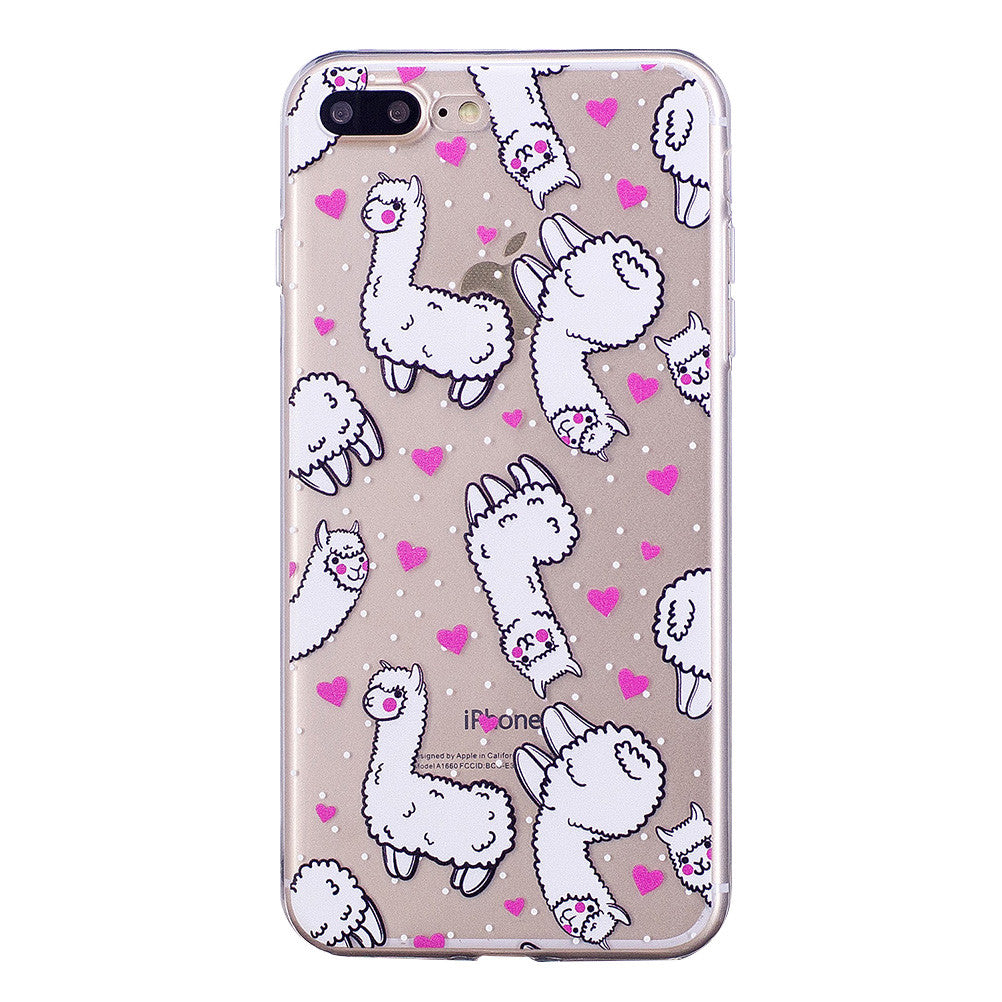 Cute Cartoon Design Phone Cover Doughnut and Alpaca Pattern Soft Protector Shell for iPhone