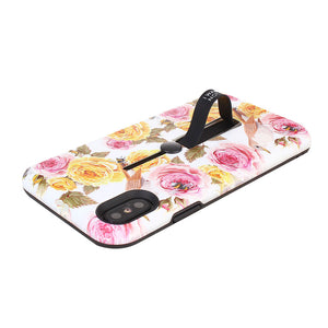 Floral Pattern Embossment Phone Case Slim Fit with Kickstand and Rubber Strap for iPhone