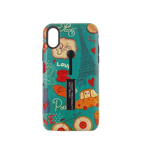 Eiffel Tower Pattern Embossment Phone Case Slim Fit with Kickstand and Rubber Strap for iPhone