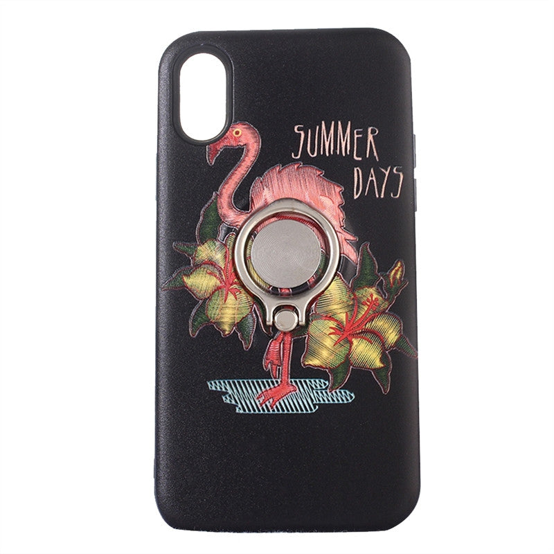 Colored Rlief TPU Phone Case Embroidery Flamingo Embossed with Ring Kickstand for iPhone X