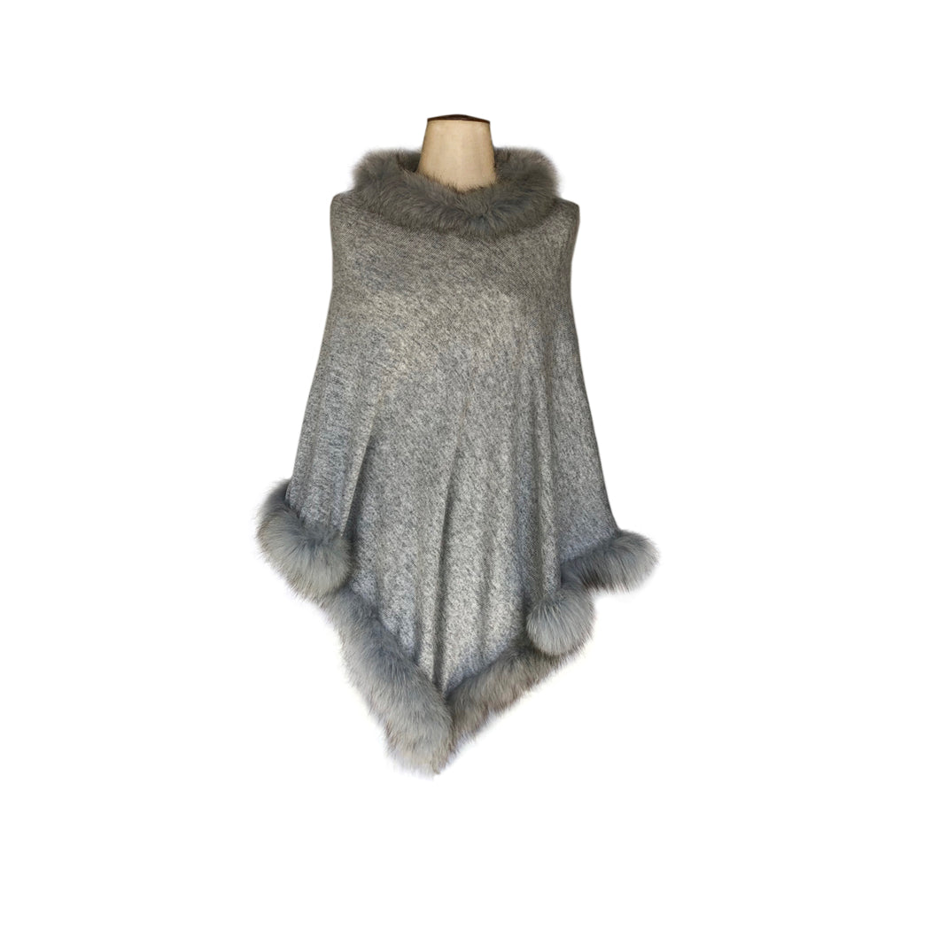 Neck & Bottom Fur Trim Poncho