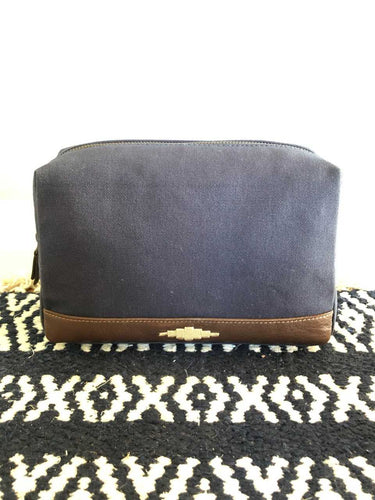 Canvas leather toiletry bag
