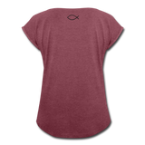 Women's Roll Cuff T-Shirt - heather burgundy