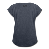 Women's Roll Cuff T-Shirt - navy heather