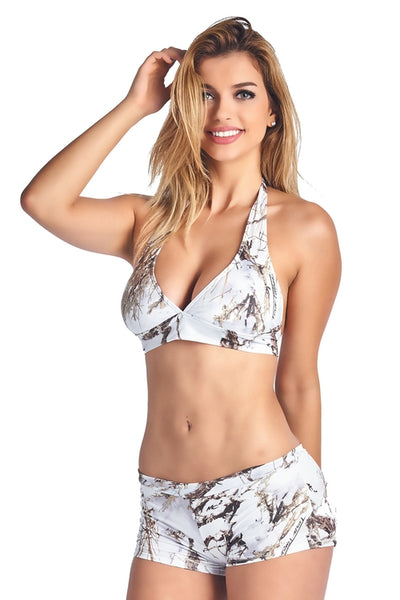 Women's White True Timber Halter Top & Hot Shorts