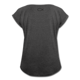 Women's Roll Cuff T-Shirt - heather black
