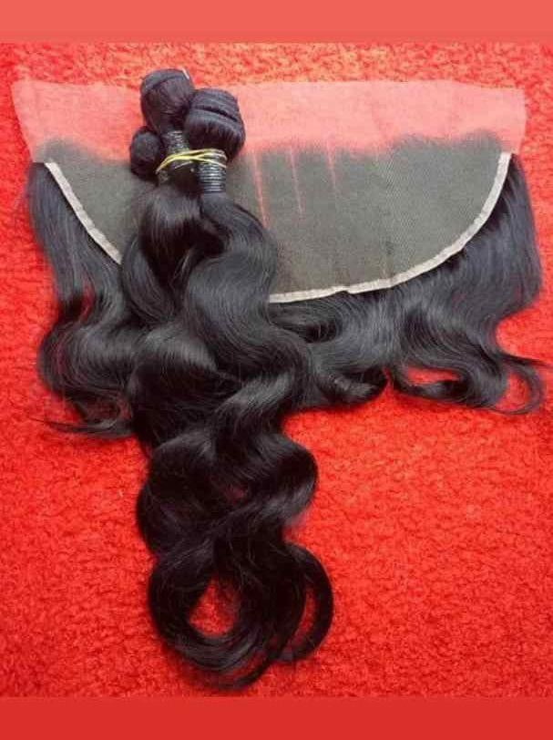 Brazilian body wave on a red background