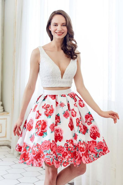 TWO PIECE LACE FLORAL PRINTED DRESS