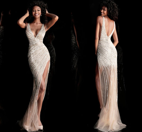 Asymmetrical Beaded Illusion High Slit Gown By Jovani 63405