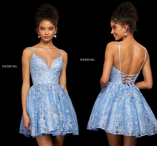 Beaded Lace Sweetheart A-Line Short Dress By Sherri Hill 53074