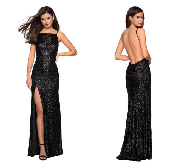 Sequined Backless High Slit Long Gown 27585 By La Femme