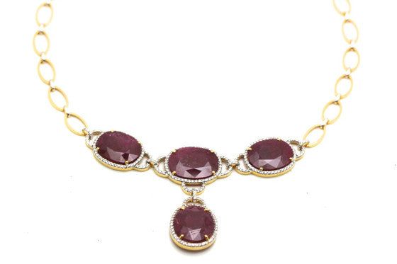 Tresor Collection - 18K Yellow Gold Ruby and Diamond Necklace