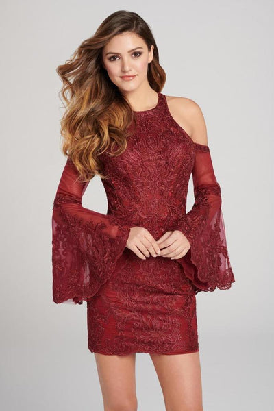 ELLIE WILDE - EW21842S METALLIC CORDED LACE COLD SHOULDER