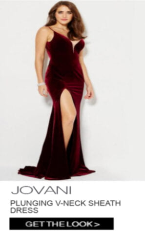 Jovani Plunging V-Neck Sheath Dress