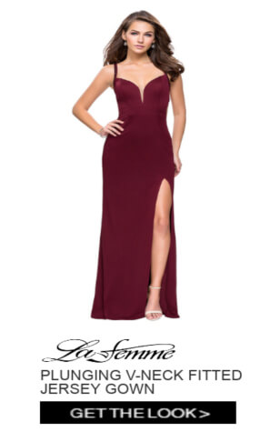 La Femme Plunging V-Neck Fitted Jersey Gown