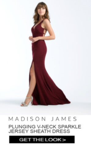 Madison James Plunging V-neck Sparkle Jersey Sheath Dress