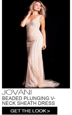 Jovani Beaded V-Neck Sheath Dress
