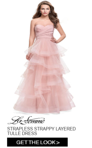 La Femme Strapless Strappy Layered Tulle Dress