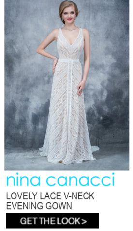 Nina Canacci Lovely Lace V-Neck Evening Gown