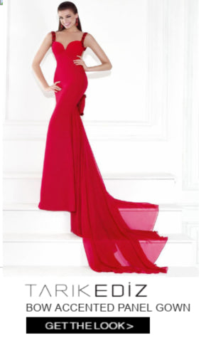tarik ediz bow accented panel gown