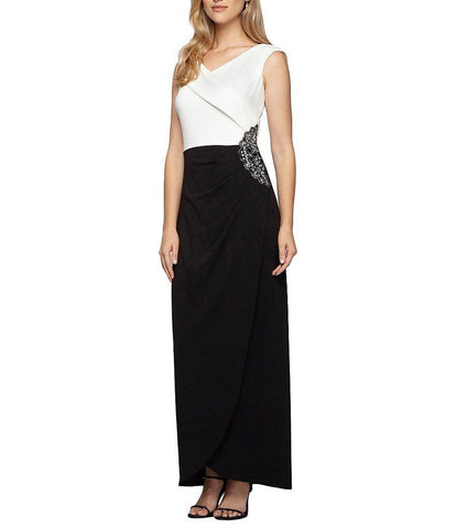 Alex Evenings - Side Embellished Crepe Long Dress 160088 in Black and White