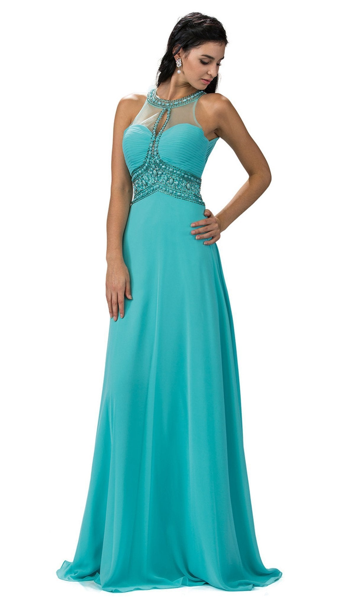Dancing Queen - 9270 Illusion Keyhole Cutout Halter Long Prom Gown