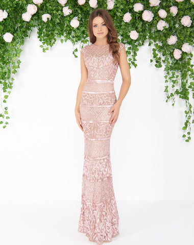 Mac Duggal - 4579D Cap Sleeve Illusion Jewel Sequined Gown In Pink
