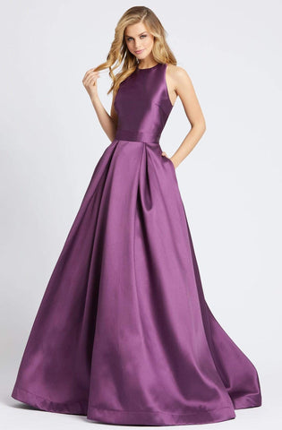 Ieena Duggal - 55241I Bow Accent Cutout Back Sleeveless A-Line Gown in Purple
