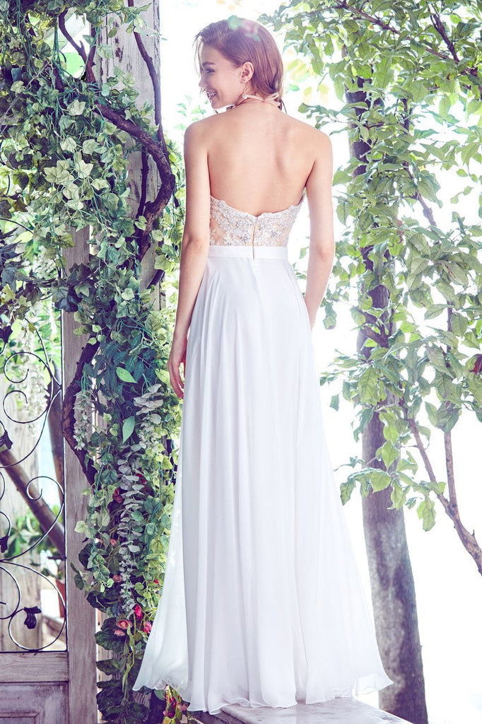 Angela & Alison - 71085 Embellished Halter Neck Chiffon Gown In White