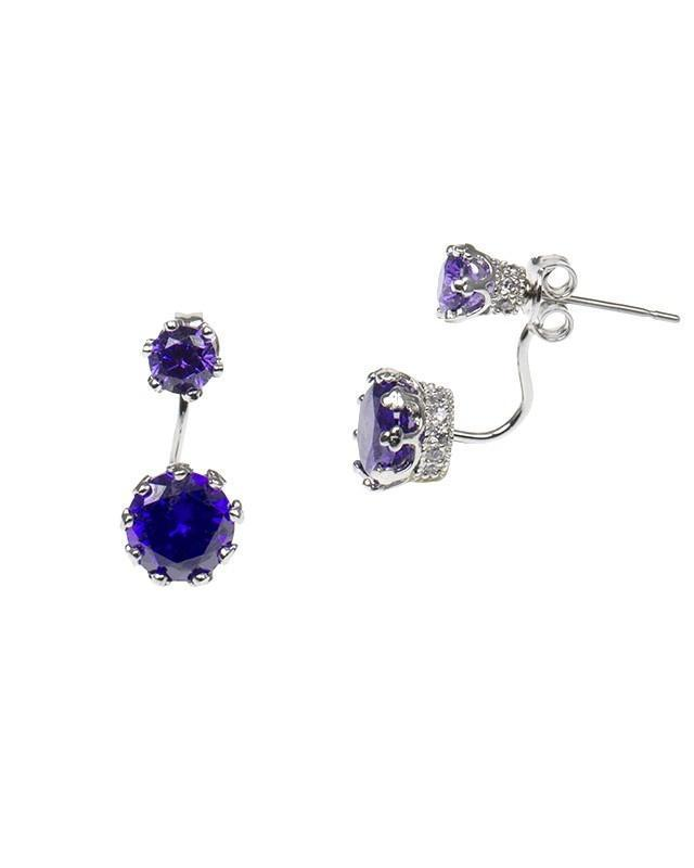 CZ by Kenneth Jay Lane - Amethyst CZ Double Round Drop Crown Setting