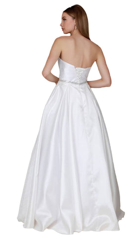 Nox Anabel - Y154 Strapless Pleated A-Line Evening Gown Special Occasion Dress XS / Off White