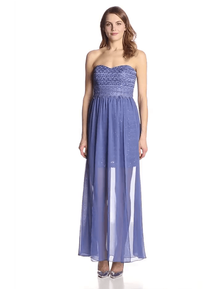 A-line Strapless Ankle Length Natural Waistline Flowy Sweetheart Dress