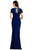 Aidan Mattox - MD1E203782 Embroidered Jewel Neck Crepe Trumpet Dress Evening Dresses