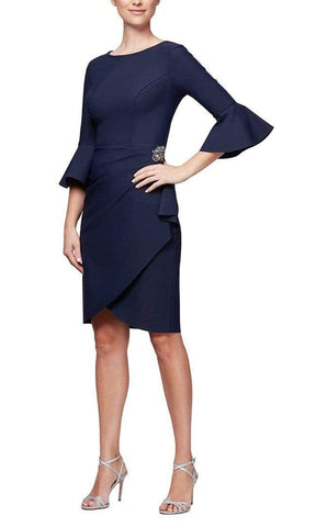 Alex Evenings - 134183 Quarter Bell Sleeve Faux Wrap Fitted Short Dress - 1 pc Navy In Size 14 Available